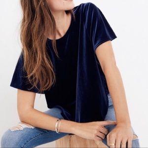 Madewell | butterfly sleeve dark blue velvet top